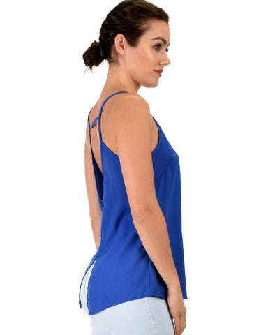 Lyss Loo What's Strap-Pening Cross Back Straps Royal Tank Top - Clothing Showroom
