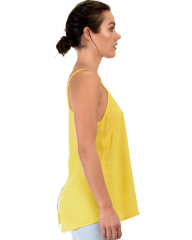 Lyss Loo What's Strap-Pening Cross Back Straps Yellow Tank Top - Clothing Showroom