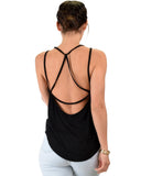 Lyss Loo My Favorite Cross Back Straps Black Tank Top - Clothing Showroom