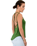 Lyss Loo My Favorite Cross Back Straps Green Tank Top - Clothing Showroom