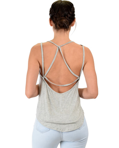 Lyss Loo My Favorite Cross Back Straps Grey Tank Top - Clothing Showroom