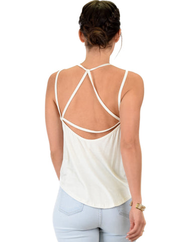 Lyss Loo My Favorite Cross Back Straps Ivory Tank Top - Clothing Showroom