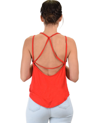 Lyss Loo My Favorite Cross Back Straps Red Tank Top - Clothing Showroom