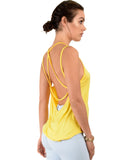 Lyss Loo My Favorite Cross Back Straps Yellow Tank Top - Clothing Showroom