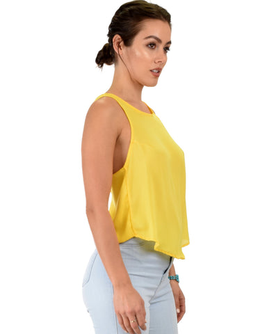 Lyss Loo Totally Crossed Out Yellow Tank Top - Clothing Showroom