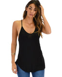 Lyss Loo Breezy Beauty Y-Back Black Tank Top - Clothing Showroom