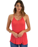 Lyss Loo Breezy Beauty Y-Back Red Tank Top - Clothing Showroom