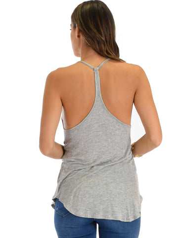 Lyss Loo Breezy Beauty Y-Back Grey Tank Top - Clothing Showroom