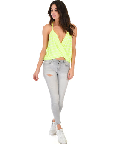 Lyss Loo Dapperly Draped Striped Neon Halter Top - Clothing Showroom
