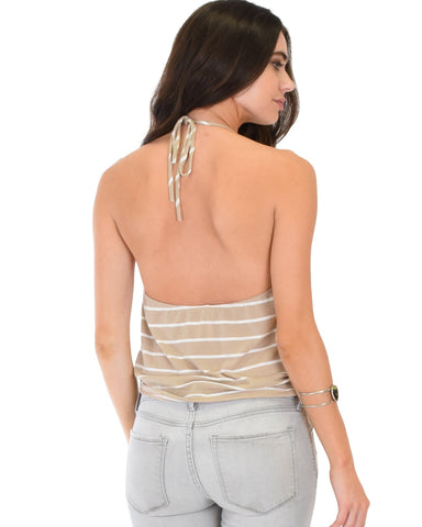 Lyss Loo Dapperly Draped Striped Taupe Halter Top - Clothing Showroom