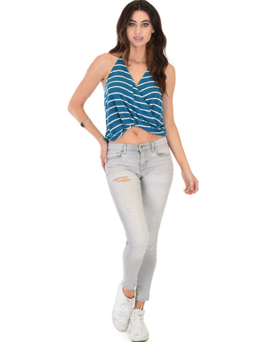 Lyss Loo Dapperly Draped Striped Blue Halter Top - Clothing Showroom
