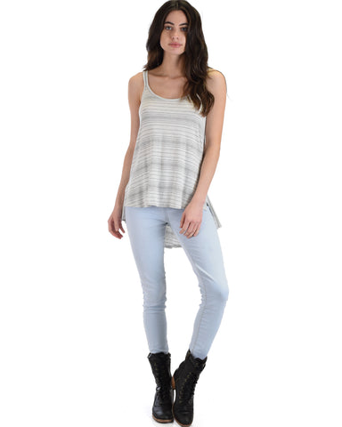 YT3140 Hi-Low Striped Grey Tank Top With Back Strap 2-2-2 - Clothing Showroom