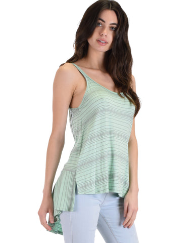 YT3140 Hi-Low Striped Mint Tank Top With Back Strap 2-2-2 - Clothing Showroom