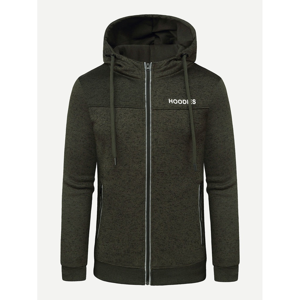 Men Letter Embroidery Hooded Jacket