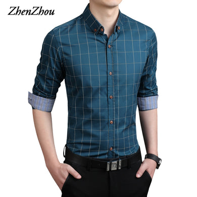 ZhenZhou Plaid Men Shirts Tailoring Slim Fit M-5XL 100% Cotton Mens Dress Shirts Male Clothes Social Casual Shirt Men Brand