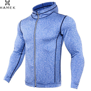 Mens Winter Sport Coat Fitness Training Running Long Sleeved Zip Hoodie Jacket Basketball Soccer Compressiom Reflective Shirts