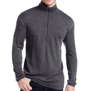 Man New Brand 100% Pure Fine Merino Wool Men Mid weight 1/4 Zip Out door Base Layer Warm Thermal Long Sleeve Clothes Shirt Tops