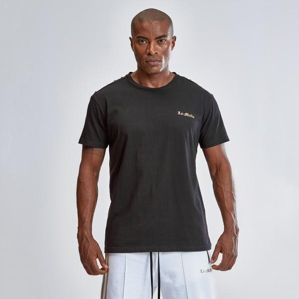 "T-shirt LAMAFIA ""Gold Black"" HCS12785 - Labellamafia Shop - Fitness is Everywhere"