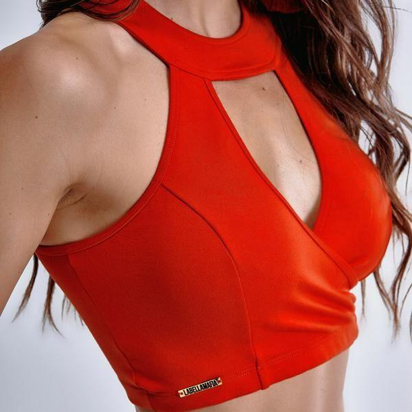 "Cropped Top"" Afternoon red"" MBL14311 - Labellamafia Shop - Fitness is Everywhere"