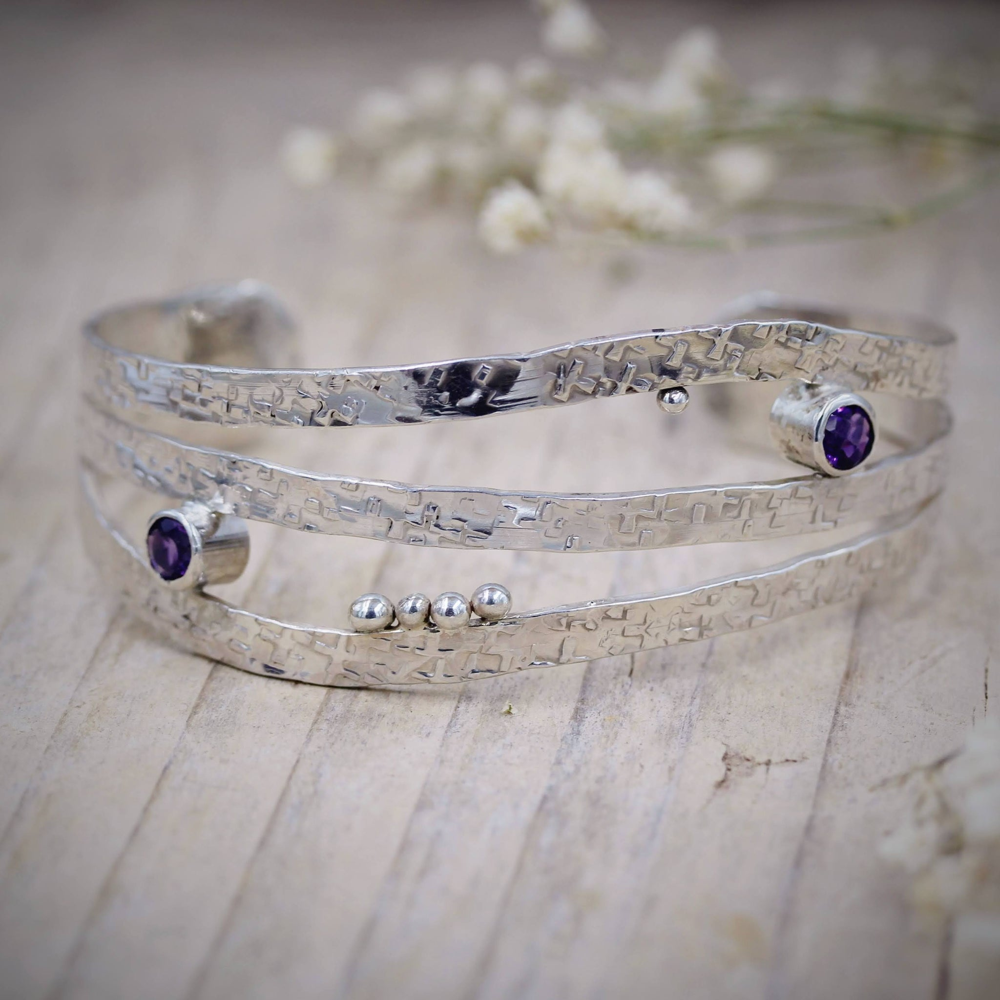 Handcrafted silver bracelets and bangles, made in the UK by Gemma Tremayne Jewellery
