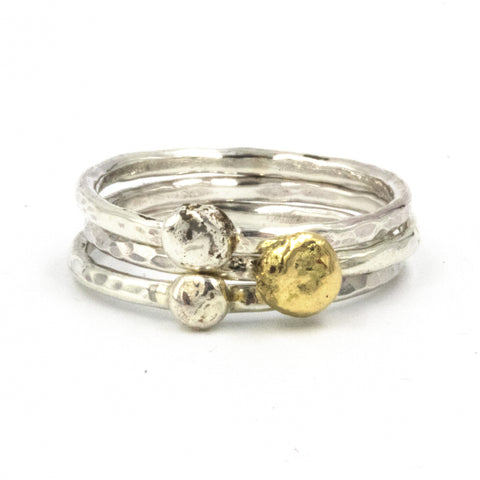 Bespoke ring stacking set in silver and 9ct gold by Gemma Tremayne Jewellery