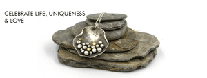 Silver and Gold Pebbles on the Beach Necklace, bespoke handcrafted silver necklaceby Gemma Tremayne Jewellery