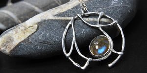 handmade sterling silver and labradorite pendant by Gemma Tremayne Jewellery