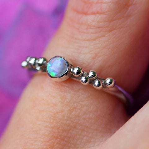 Opal and sterling silver ring by Gemma Tremayne Jewellery