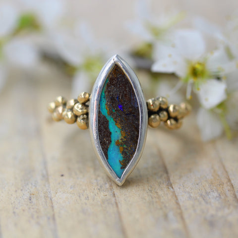 Australian boulder opal, 9ct gold and sterling silver ring