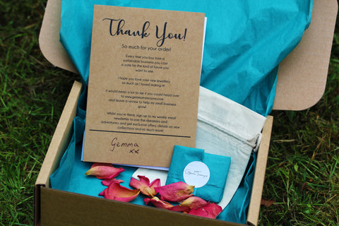 100% sustainable jewellery packaging by Gemma Tremayne Jewellery