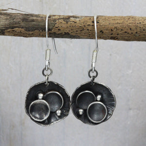 Rock pool inspired earrings, handcrafted in sterling silver by Gemma Tremayne Jewellery