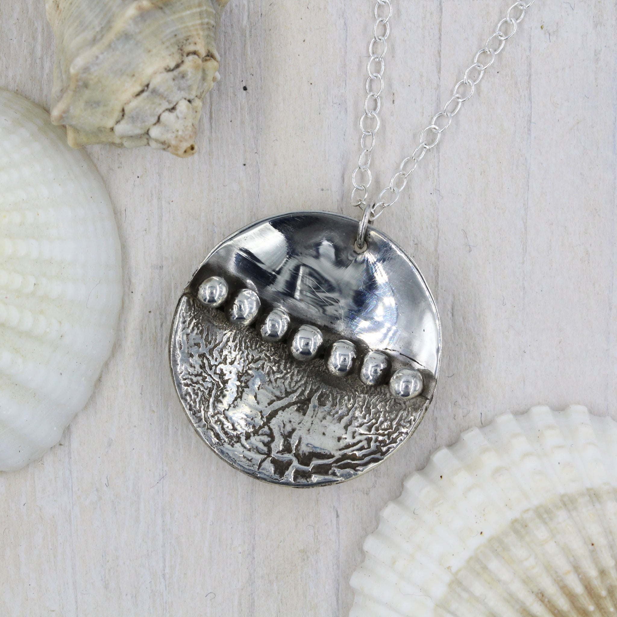 Seascape pendant, handmade in sterling silver by Gemma Tremayne Jewellery