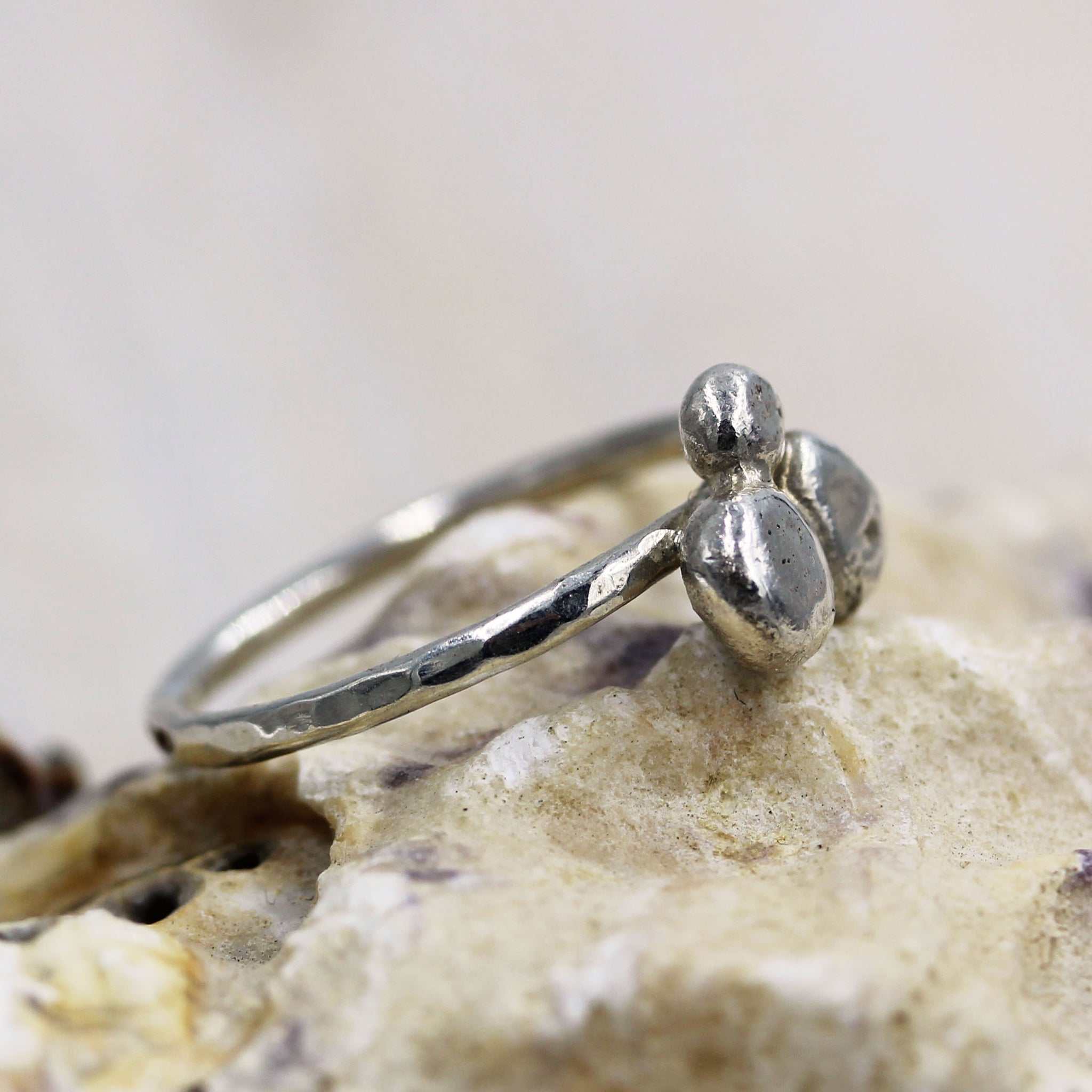 Pebbles ring, sea inspired silver jewellery, handcrafted by Gemma Tremayne Jewellery