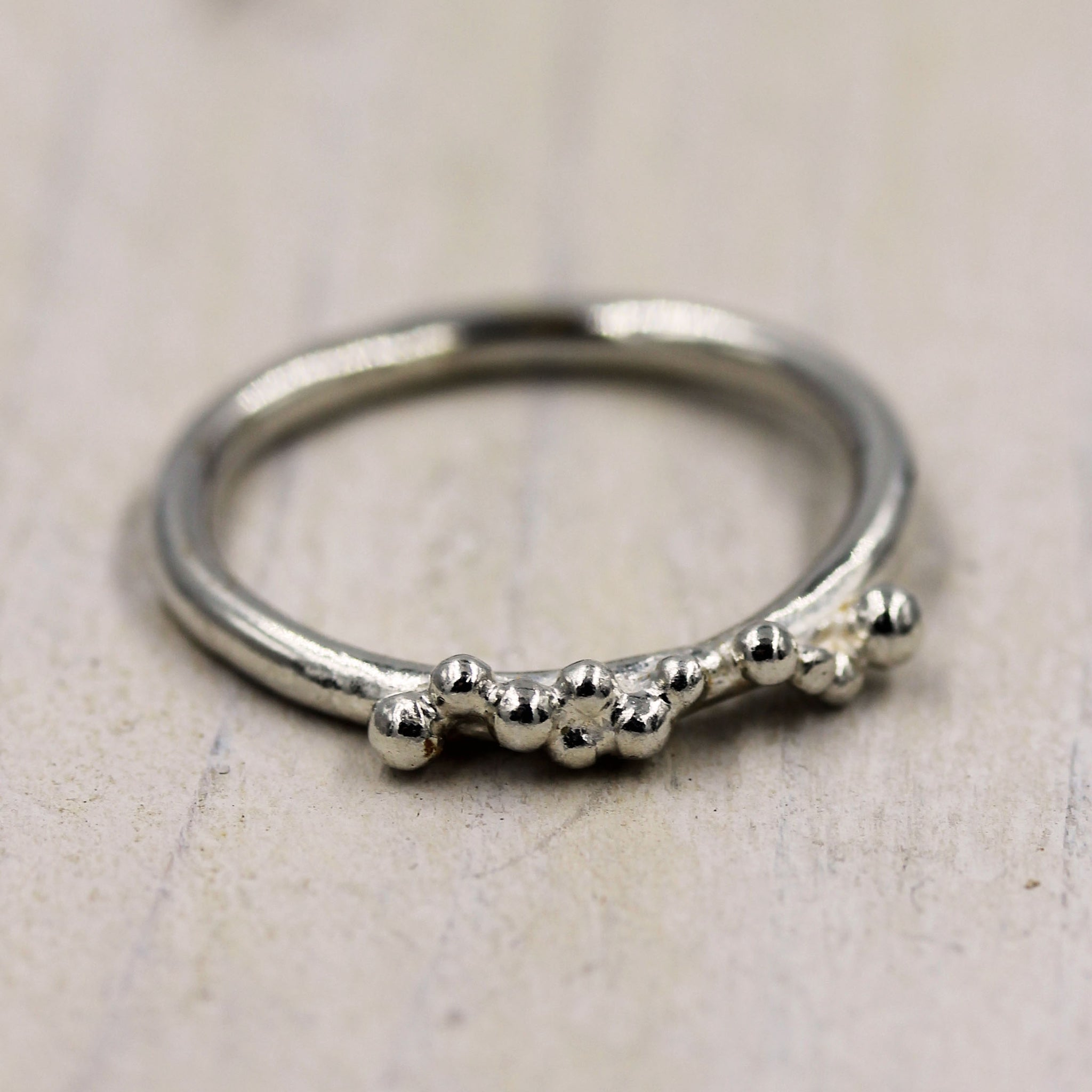 Grains of sand ring, handmade in eco friendly silver, by Gemma Tremayne Jewellery