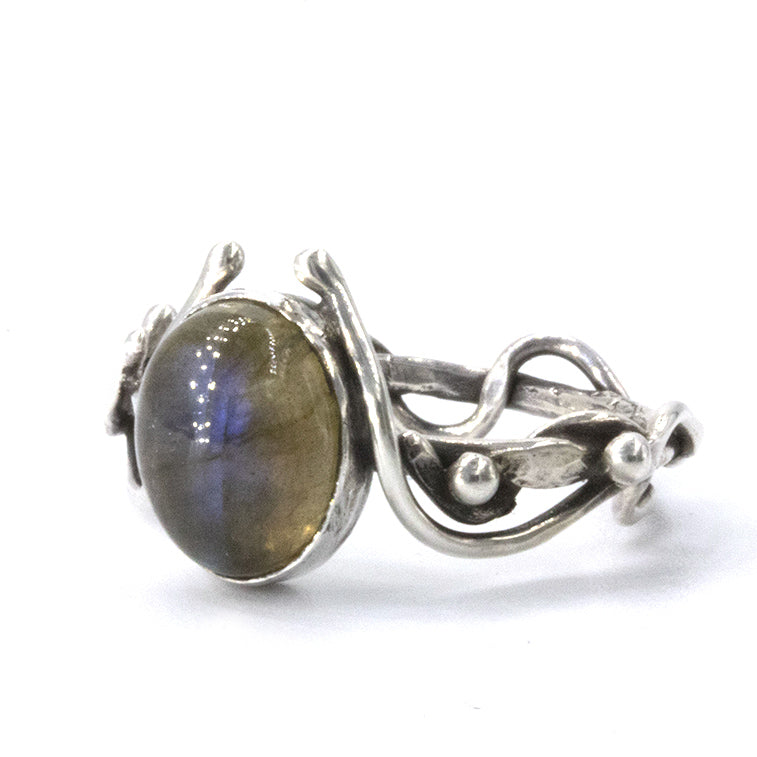 Labradorite and Sterling silver 'sea vine' ring by Gemma Tremayne Jewellery. Organic gold ring inspired by twisting vines of seaweed left on the beach as the tide recedes