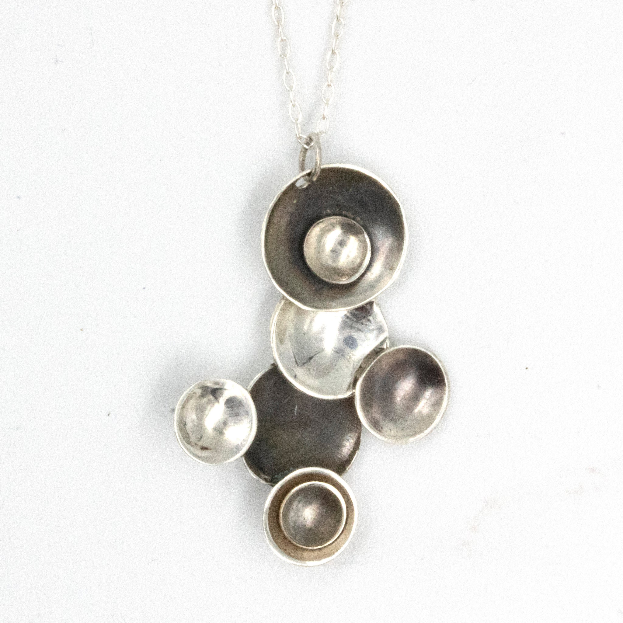 Handmade sterling silver 'Moons' necklace, by Gemma Tremayne Jewellery.