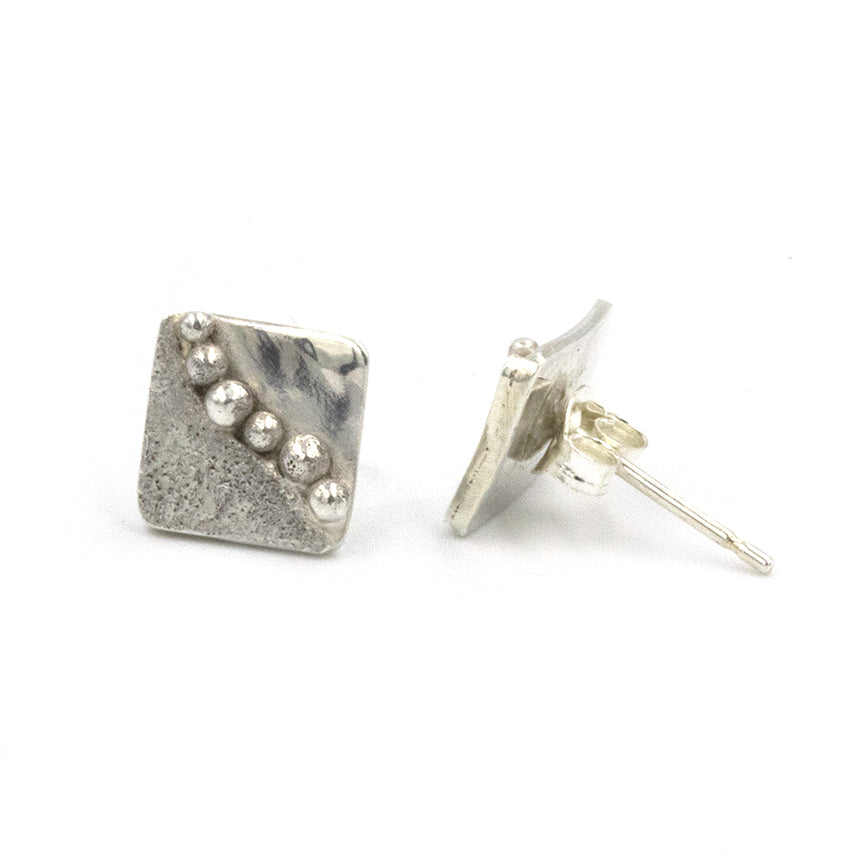 Handmade sea inspired, sterling silver stud earrings