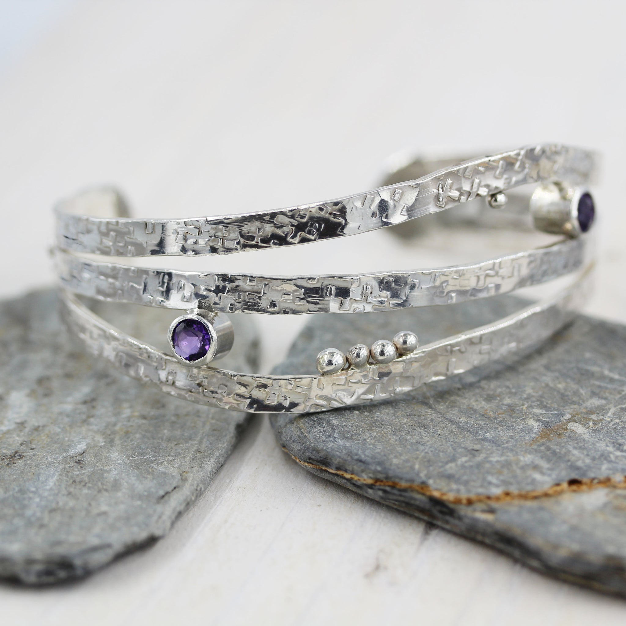 Handmade sterling silver and Amethyst Cuff Bracelet by Gemma Tremayne Jewellery.