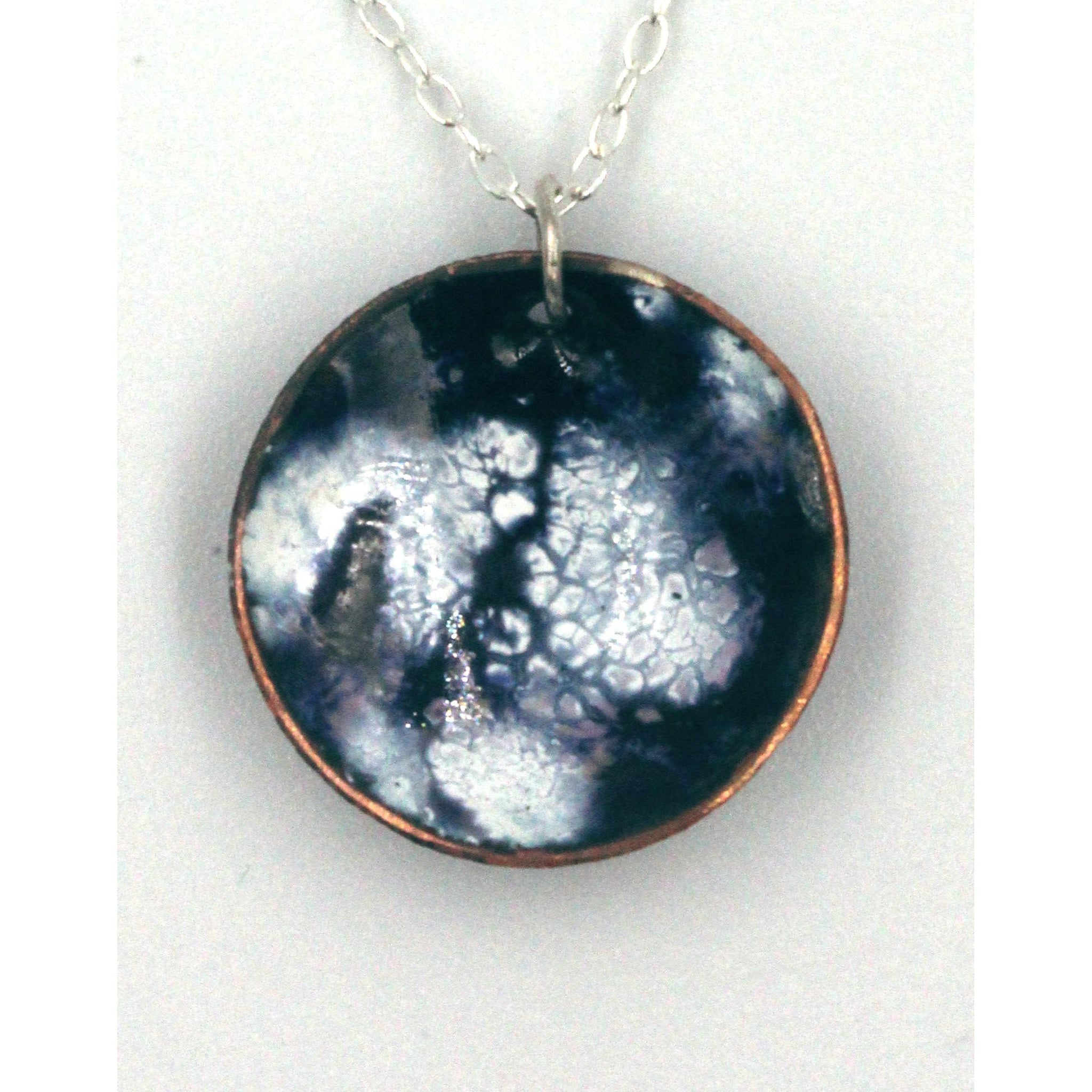 Enamel and copper 'Nebula' pendant handmade by Gemma Tremayne Jewellery, inpired by the beauty, magic and wonder of the nebulas and galaxies in outer space