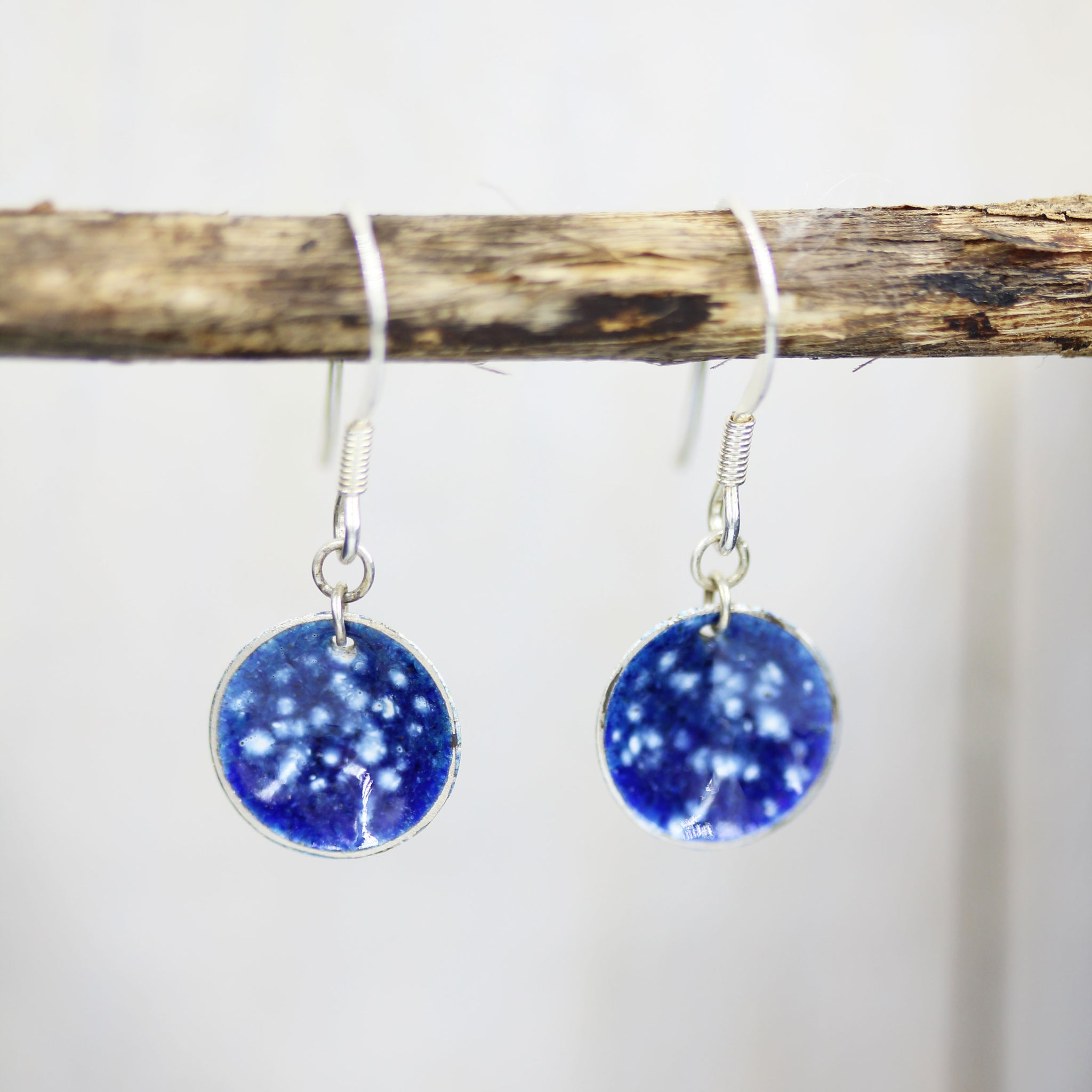 Enamel and silver 'Nebula' earrings handmade by Gemma Tremayne Jewellery, inpired by the beauty, magic and wonder of the nebulas and galaxies in outer space