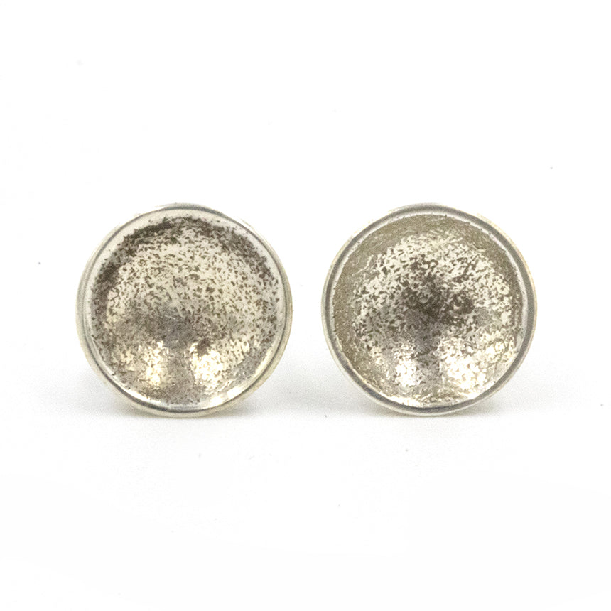 Simple and elegant, handmade, sand textured sterling silver stud earrings, part of Gemma Tremayne Jewellery's Shoreline Collection