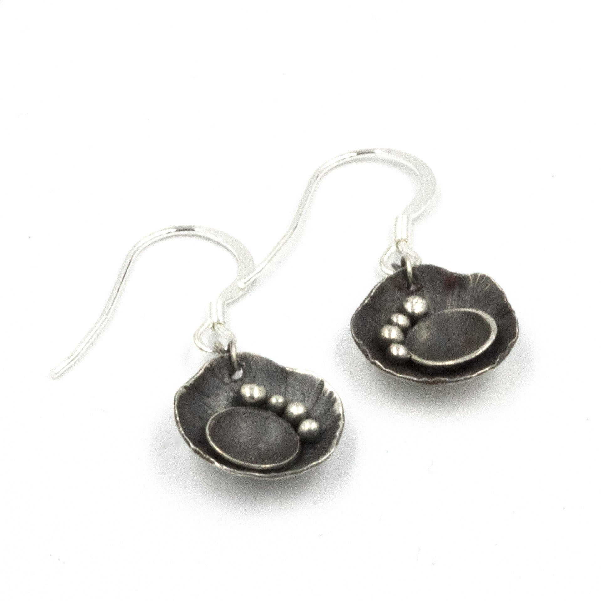 Handmade Rock Pool Drop Earrings, made in sterling silver, and inspired by rock pools on the Cornish Coast