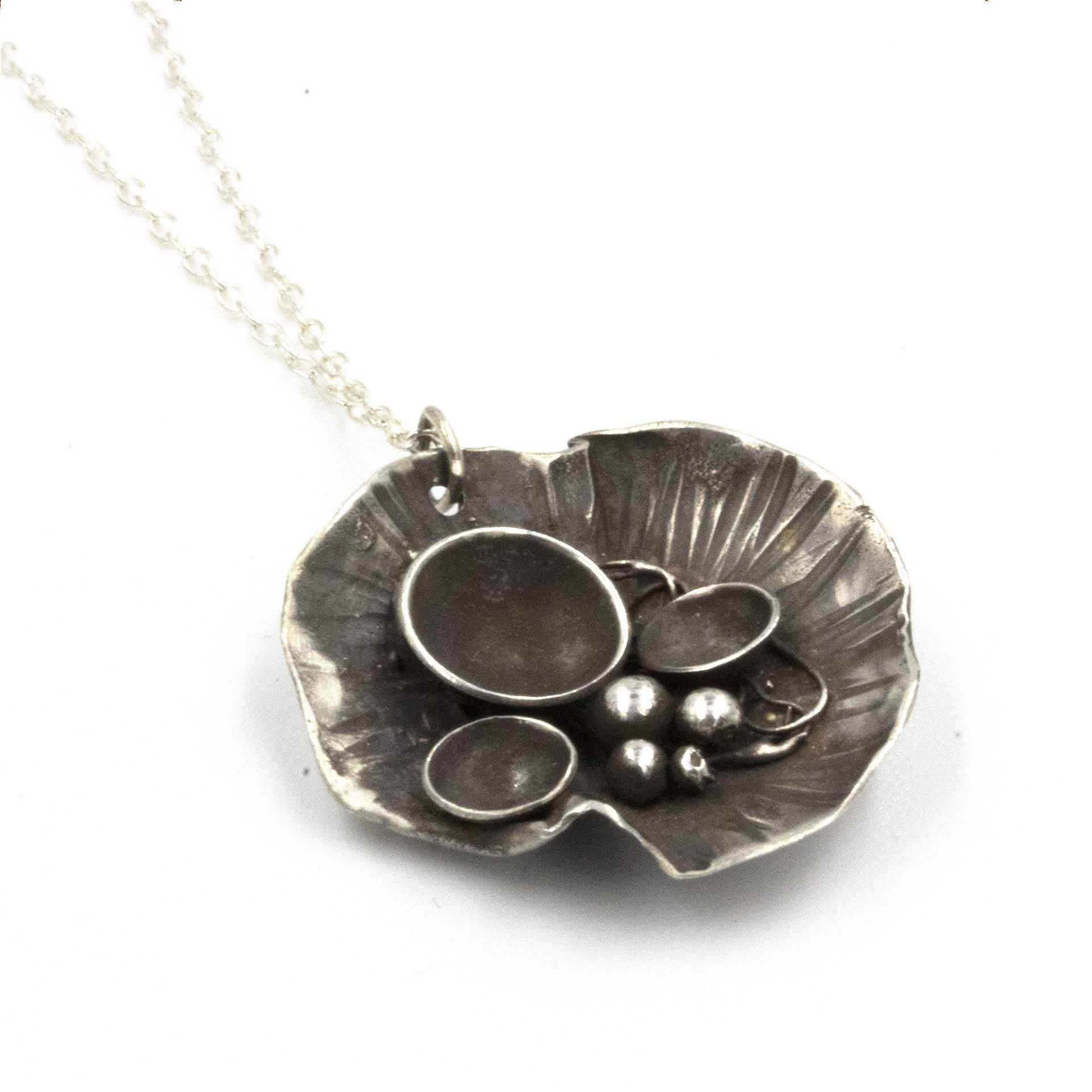 Handmade Rock Pool necklace, made in sterling silver, and inspired by rock pools on the Cornish Coast