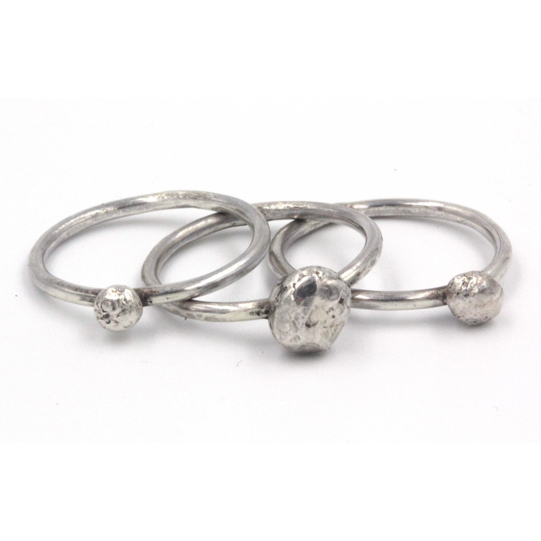Pebbles Stacking rings, handmade in sterling silver by Gemma Tremayne Jewellery