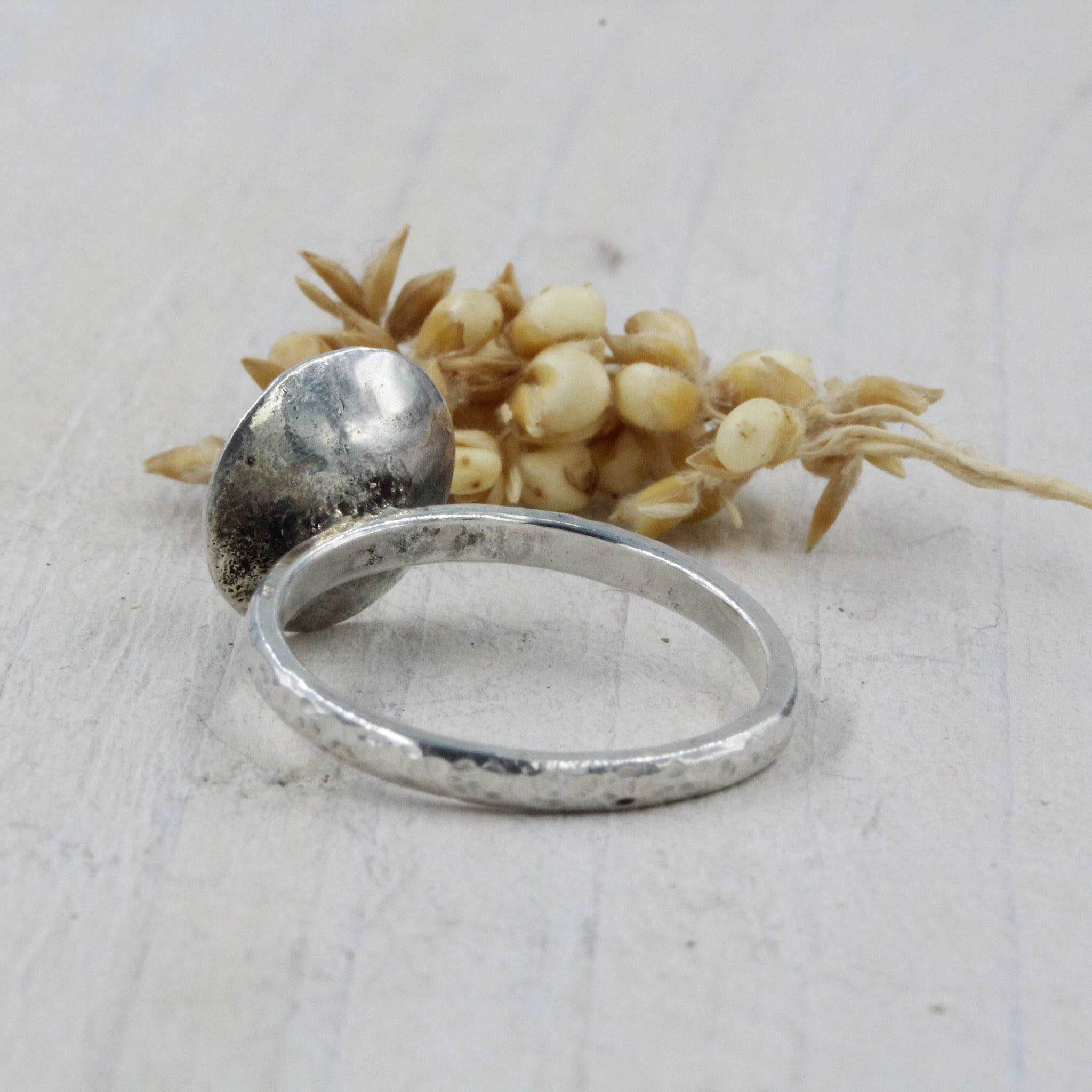 Exclusive 'Pebbles on the Beach' inspired ring, handcrafted in sterling silver, by Gemma Tremayne Jewellery. The ring features tiny silver pebbles, representing pebbles on the beach.