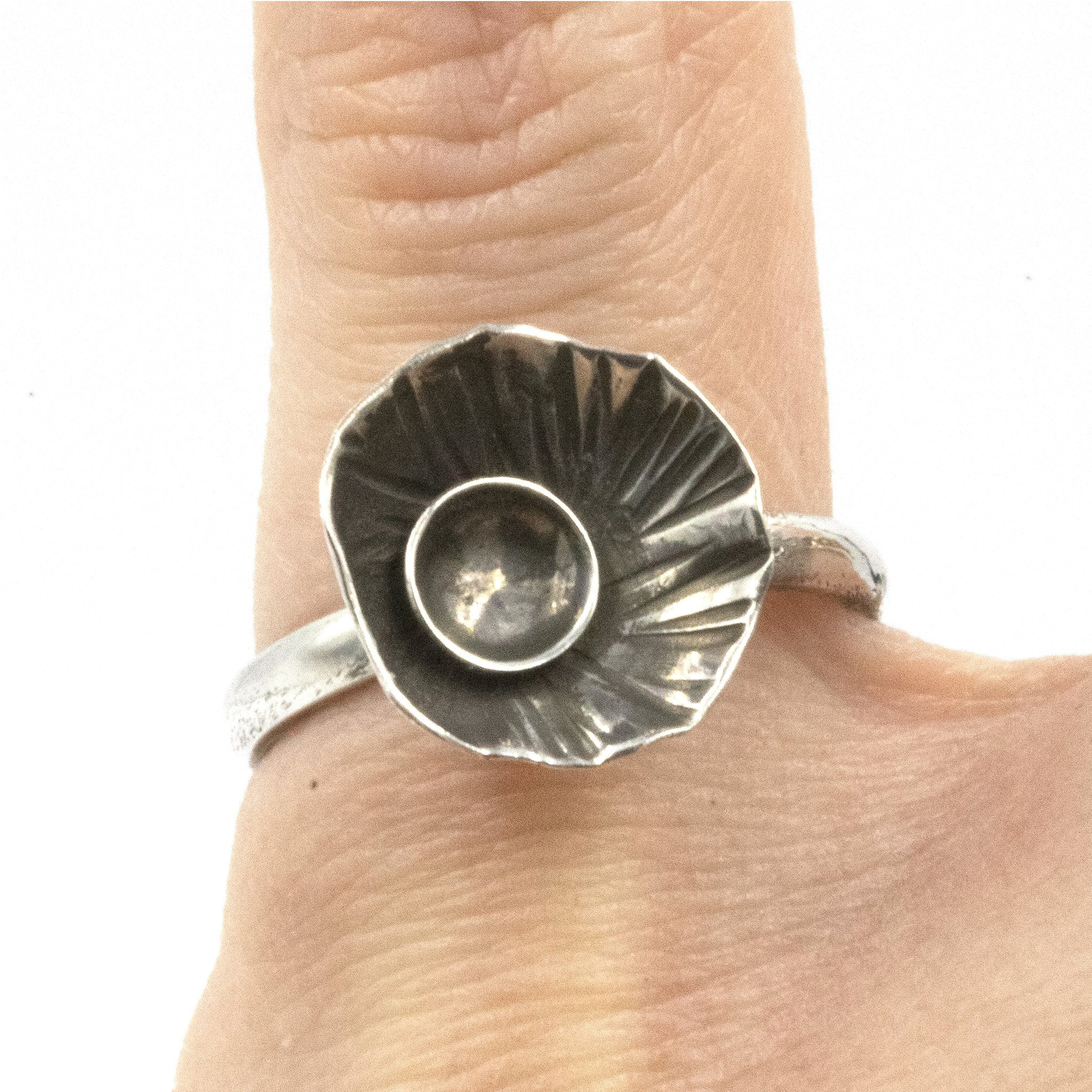 Handmade Rock Pool ring, made in sterling silver, and inspired by rock pools on the Cornish Coast