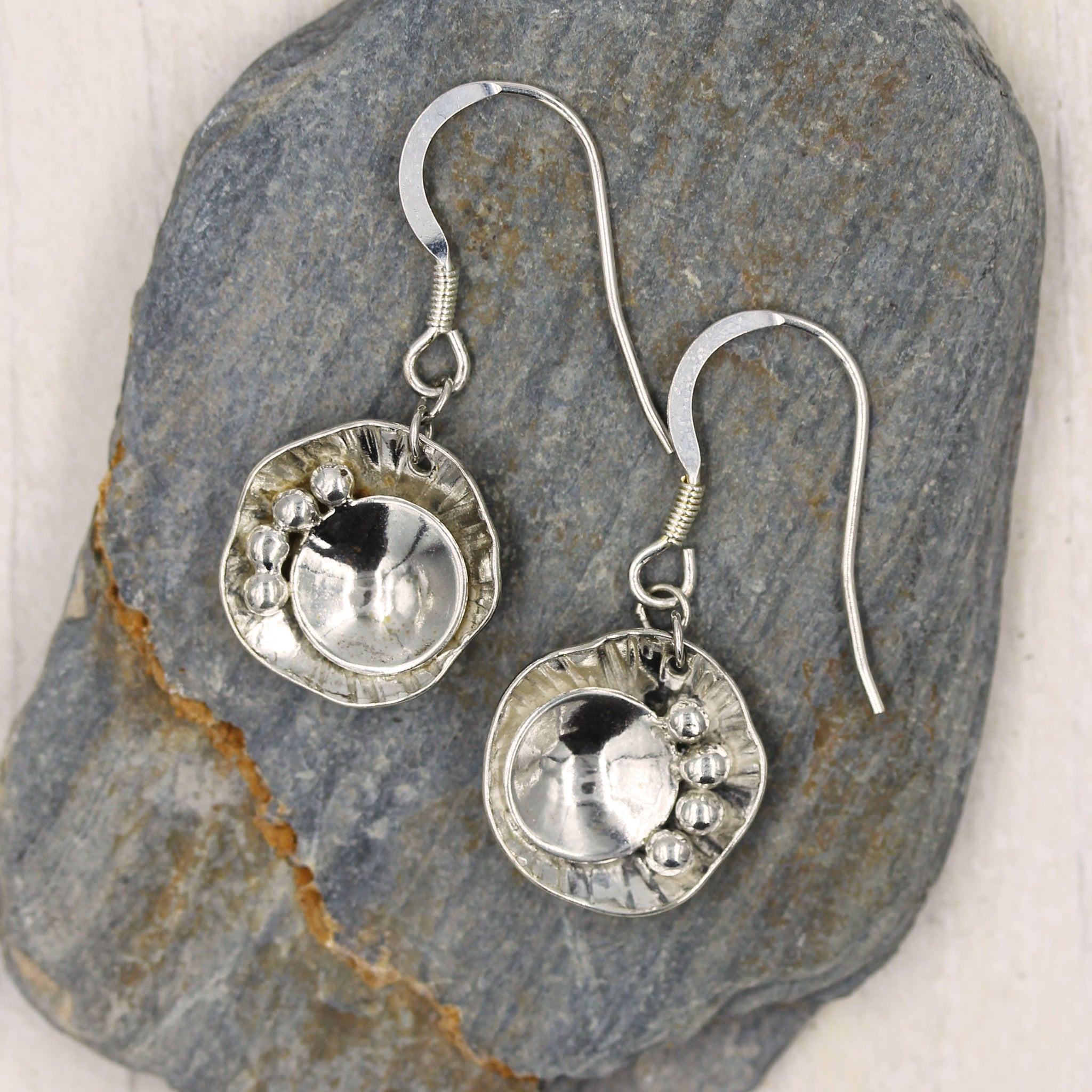 Rock pool inspired drop earrings, sea inspired earrings, handcrafted in recycled silver. by Gemma Tremayne Jewellery