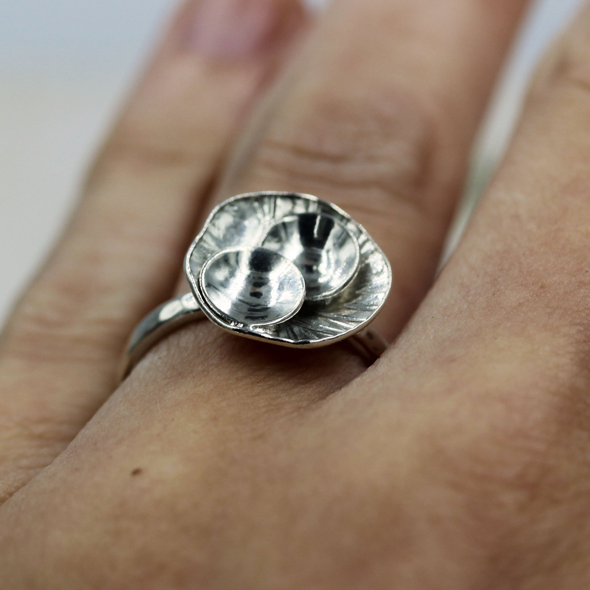 Rock pool inspired ring, sea inspired ring, handcrafted in recycled silver. by Gemma Tremayne Jewellery