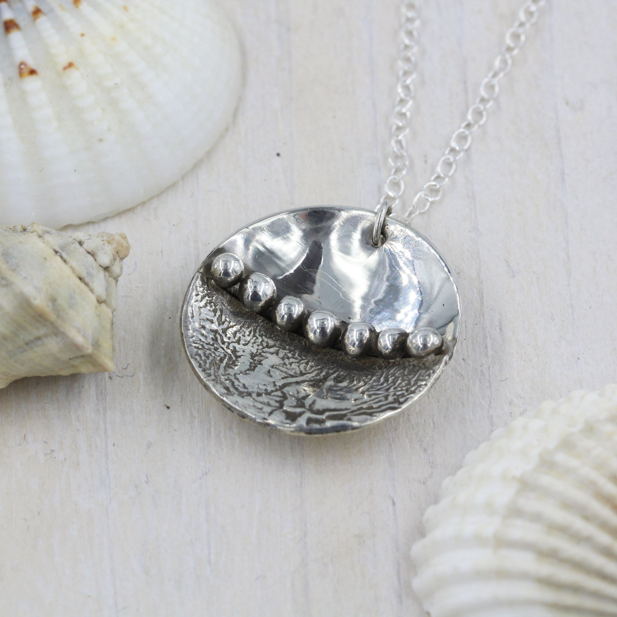 Handmade sea inspired, sterling silver necklace