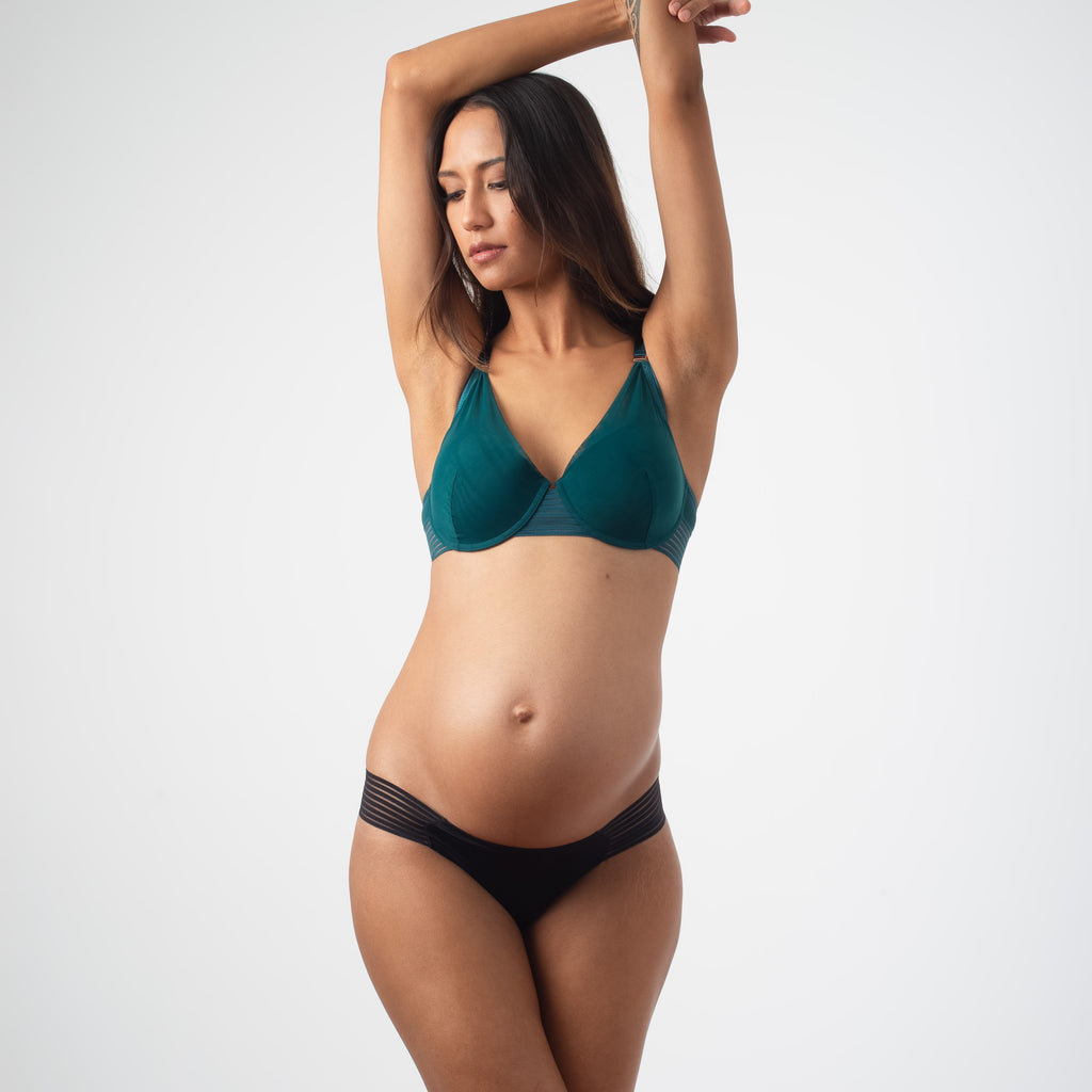 AMBITION PLUNGE DEEP GREEN CONTOUR NURSING BRA - FLEXI UNDERWIRE